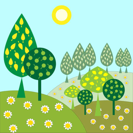 landscape with trees and sunshine daisies Vector