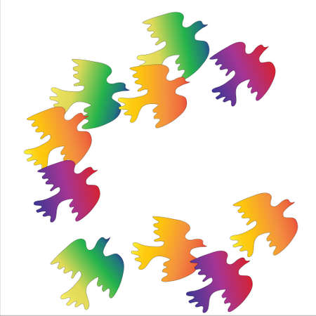 flock of colorful birds on  white background