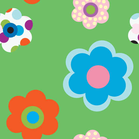 seamless pattern with decorative multi colored flowers Illustration