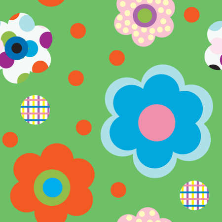 Pattern with decorative flowers on a green background