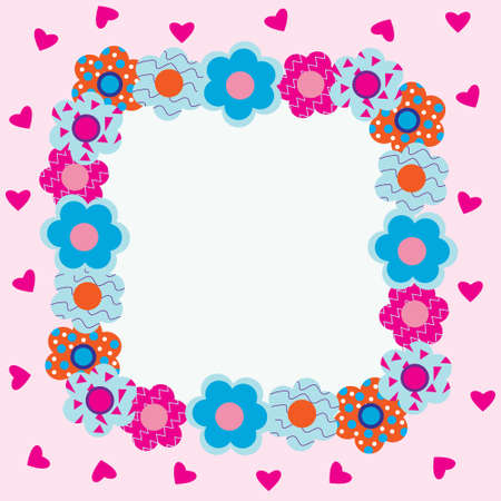 Frame of flowers with pink hearts