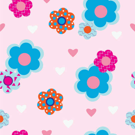 Flowers on a pink background with hearts Illustration