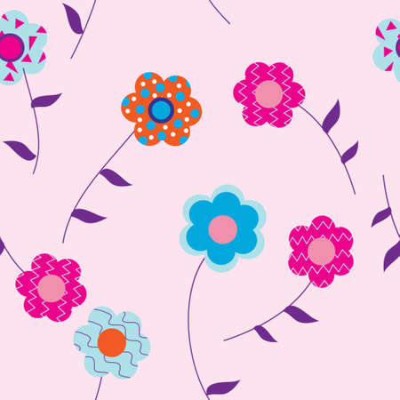 Flowers on a pink background with leaves Illustration