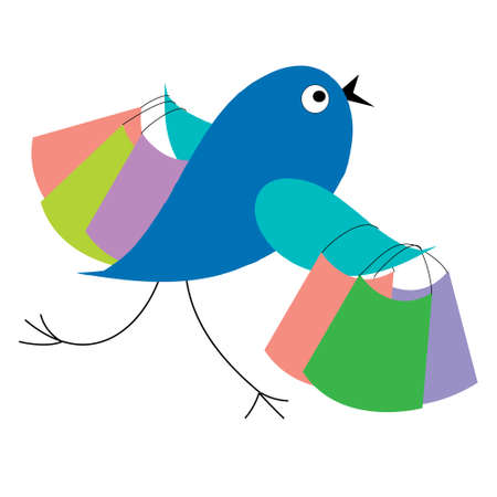 Blue bird shopping runs from the sale Vector