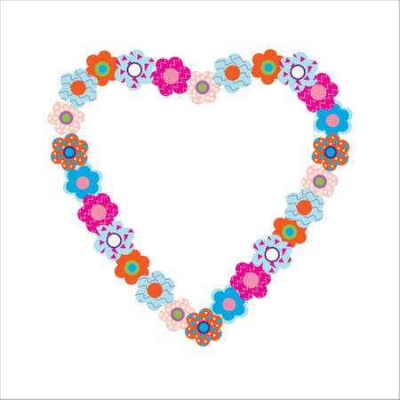 Decorative beautiful flowers in heart shape Vector