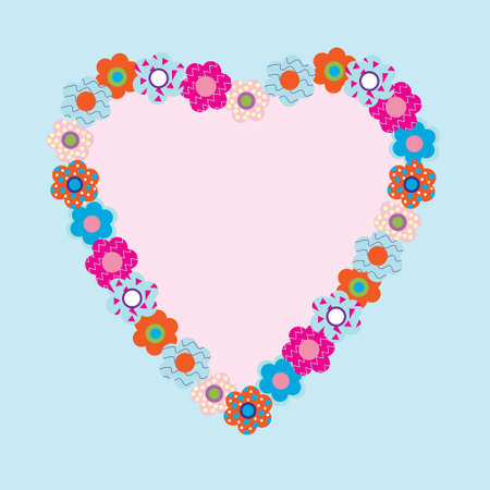 Frame in the shape of a heart of flowers Vector