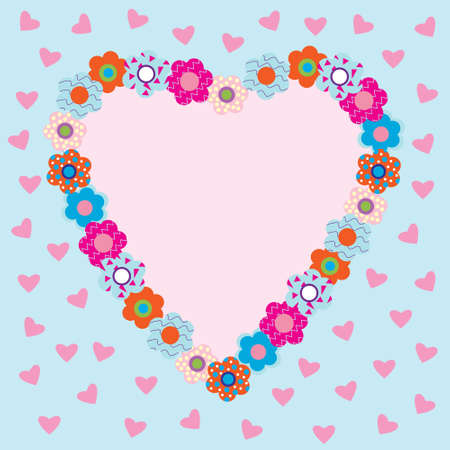 Beautiful heart-shaped frame with flowers Vector