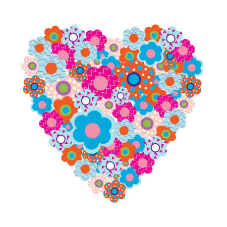 Heart of the beautiful colored flowers Vector