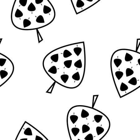 Seamless black and white pattern leaves Illustration