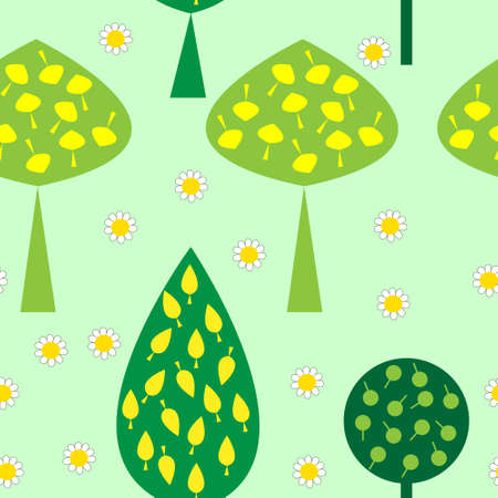 Seamless pattern with trees and daisies Illustration
