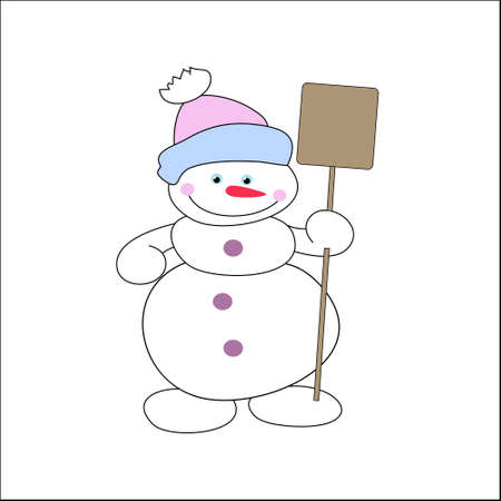 Cheerful snowman with a shovel in a hat