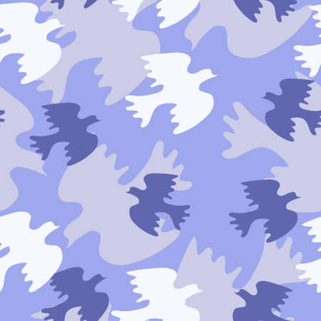 Seamless texture with blue bird Illustration