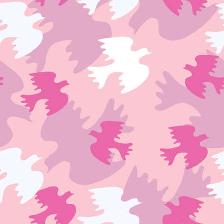 Seamless texture with pink birds