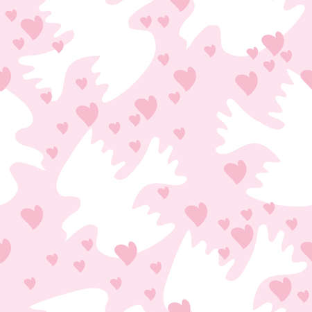 Seamless texture with doves and heart