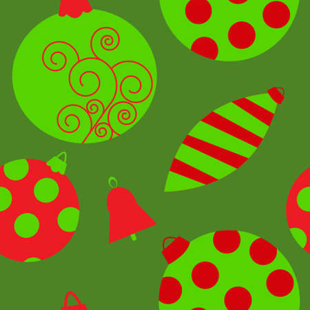 Seamless background with green and red toys Vector