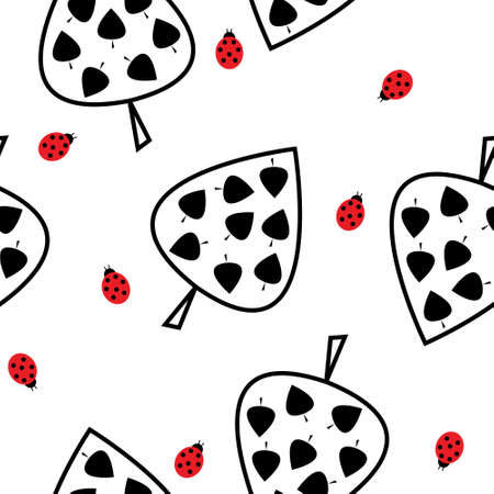 Seamless pattern with a leaves and ladybugs