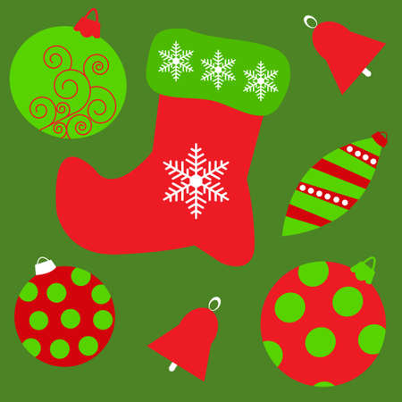 Seamless background with a different Christmas toys Vector