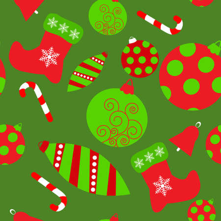 Seamless texture with a variety of Christmas toys Vector