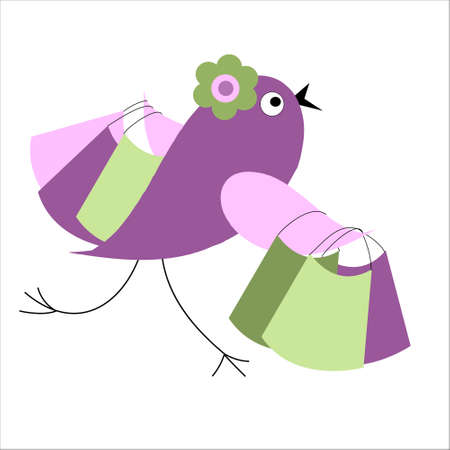 Bird with a shopping with sales Stock Vector - 16069607
