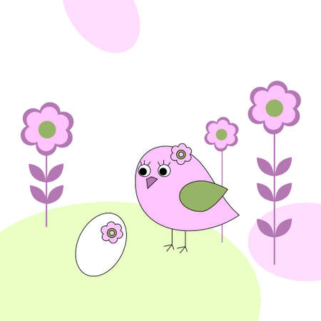 Pink bird with a white egg Vector