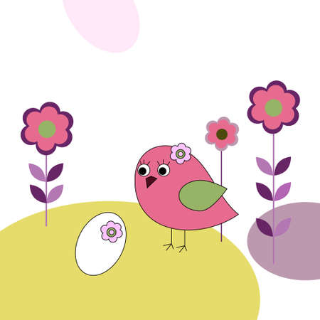 Pink bird with eggs and a flowers Vector