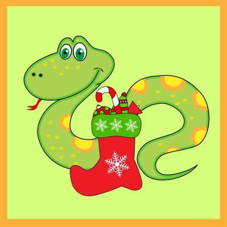 Green snake of with Christmas Boots Vector