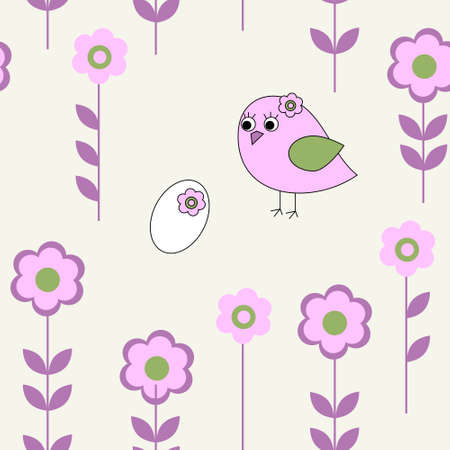 Seamless pattern with a pink bird Vector