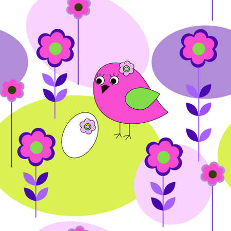 Seamless pattern with birds and a flowers Vector