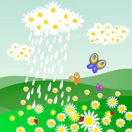 Cloud of daisies with a rain Vector