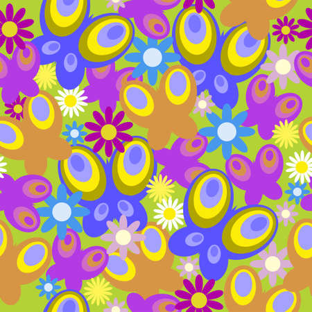 Seamless texture with a daisies and butterfly Vector