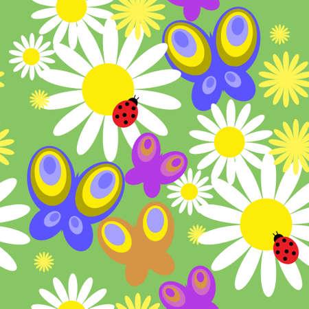 butterfly ladybird: Patr�n sin fisuras con las mariposas y flores