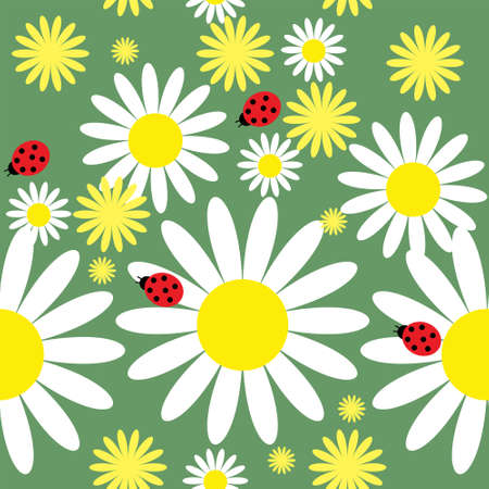 Seamless texture with a daisies and ladybug