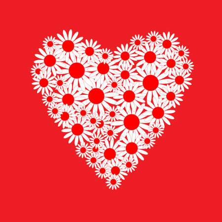 Heart of a white daisies Vector