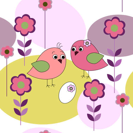 Seamless card with a birds and flowers Vector