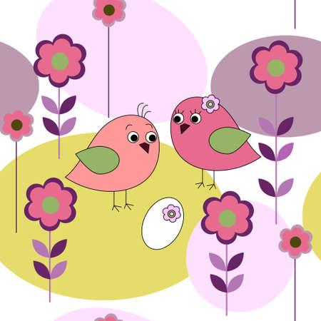 aves caricatura: Tarjeta transparente con algunas aves y flores