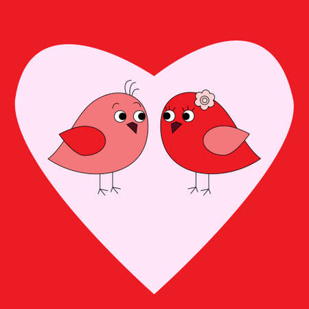 Card with birds in love and a heart Vector