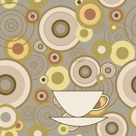 Seamless texture with a circles and cup Vector