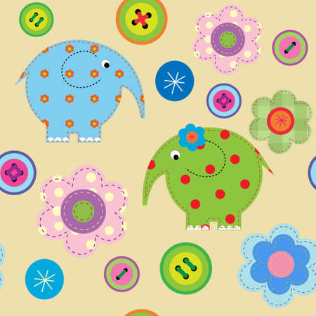Seamless pattern with a elephants and flowers Vector