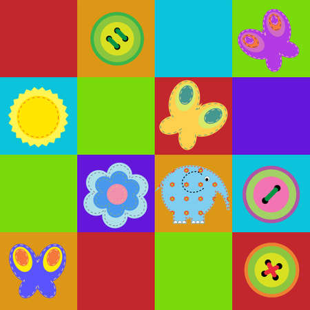 Children seamless a colorful rug Vector