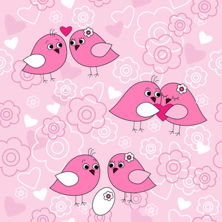 Seamless pattern with a birds in love Vector