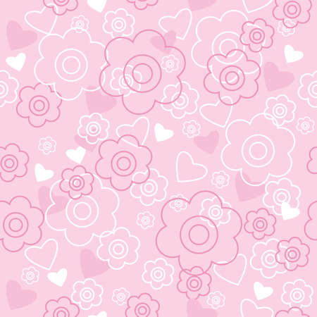 Seamless pattern with a pink flowers and hearts