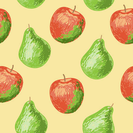 Seamless pattern with a apples and pears Vector