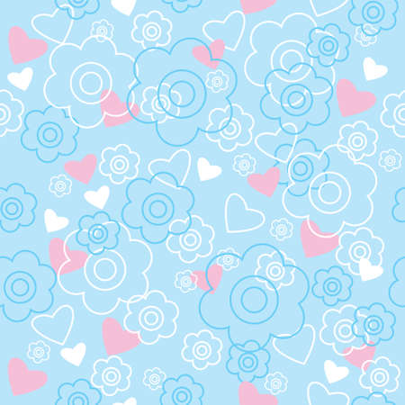 Pattern with a flowers and hearts Vector