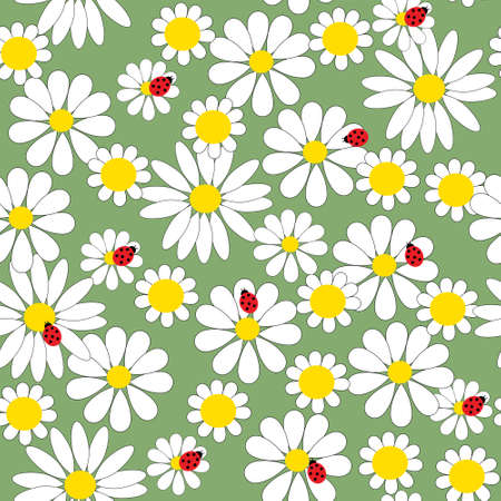 Seamless pattern with daisies and a ladybirds