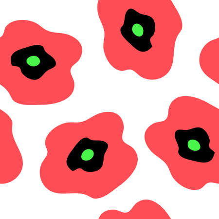 Seamless pattern with a red poppies