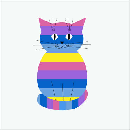 Striped decorative and stylized cat