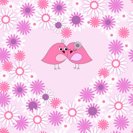 Seamless card with a birds in love