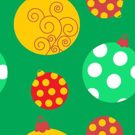 Seamless pattern with a patterned Christmas toys Vector