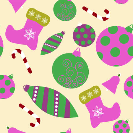 Seamless pattern with a christmas attributes  Vector