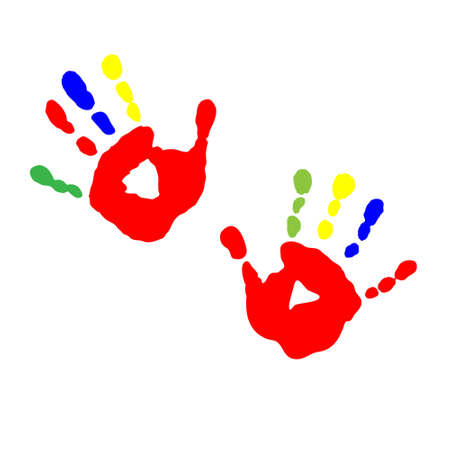 The prints of childrens hands from paint Illustration